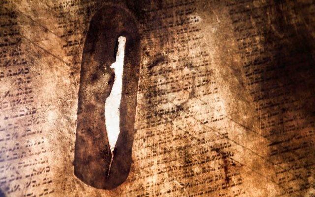 Gros plan de la déchirure en forme de l'Etat d'Israël, trouvée sur un tambour fabriqué à partir d'un rouleau de la Torah. (Courtoisie From the Depths)