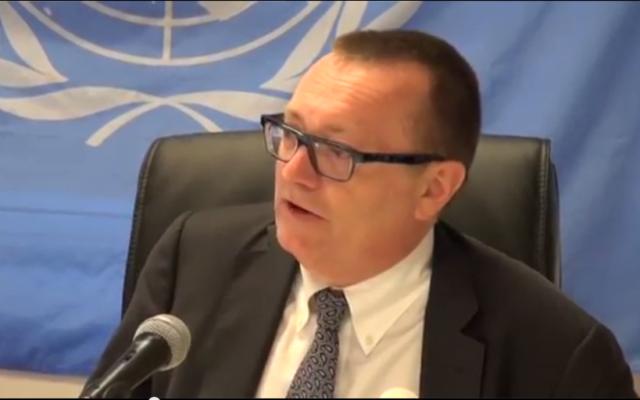 Le secrétaire général adjoint pour les affaires politiques Jeffrey Feltman (Crédit : Capture d'ecran YouTube)