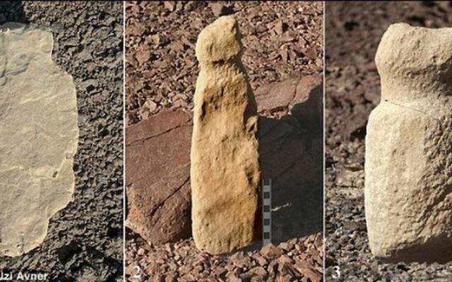 """Plus de 100 """"lieux de culte"""" contenant des sculptures sexuelles, des sépultures et des figures humaines datant d'environ 8 000 ans ont été trouvées dans les montagnes au sud d'Israël près d'Eilat. (Crédit : Uzi Avner / Daily Mail capture d'écran)"""