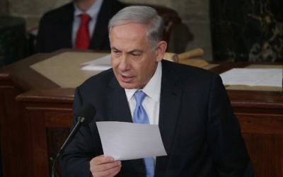 Le Premier ministre Benjamin Netanyahu devant le Congrès des Etats-Unis, à Washington, le 3 mars 2015. (Crédit : Alex Wong/Getty Images/AFP)