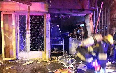 Le magasin détruit sur la rue Hehalutz à Haifa par une explosion le 9 mars 2015 (Crédit : United Hatzalah Emergency Services)