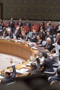 Le vote au Conseil de sécurité de l'ONU sur une résolution en faveur d'un Etat palestinien, le 30 décembre 2014. La résolution a été rejetée (Crédit : ONU / Evan Schneider).