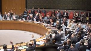 Le vote au Conseil de sécurité de l'ONU sur une résolution en faveur d'un Etat palestinien, le 30 décembre 2014. La résolution a été rejetée. (Crédit : ONU / Evan Schneider).