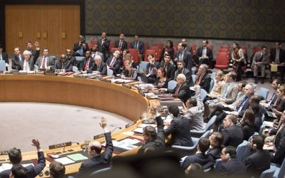Le Conseil de sécurité de l'ONU se prononce sur une résolution en faveur d'un Etat palestinien, le 30 décembre 2014. La résolution a été rejetée. (Crédit : ONU/Evan Schneider)