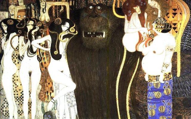 La 'frise de Beethoven' de Gustave Klimt (Crédit : de:Benutzer:Hans Bug/Domaine public)