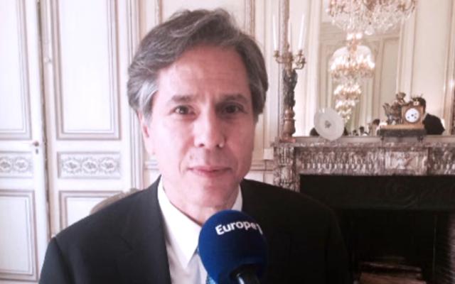 """Anthony Blinken : """"L'engagement des Etats-Unis pour la sécurité d'Israël ne changera pas"""" au micro d'Europe 1 (Crédit : Europe #)"""