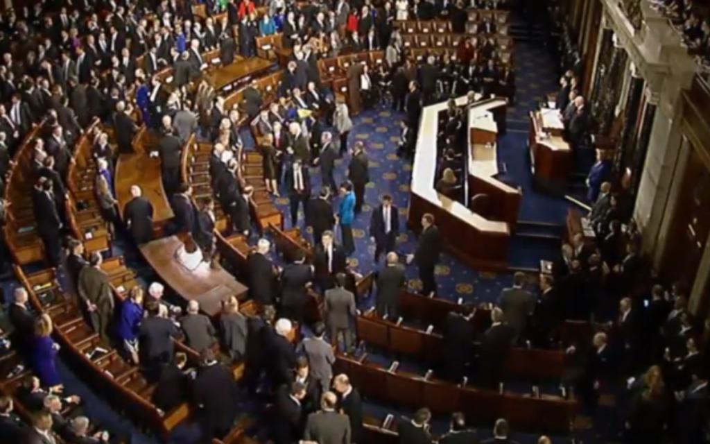 Le Congrès le 3 mars pendant le discours de Benjamin Netanyahu (Crédit : capture d'écran)