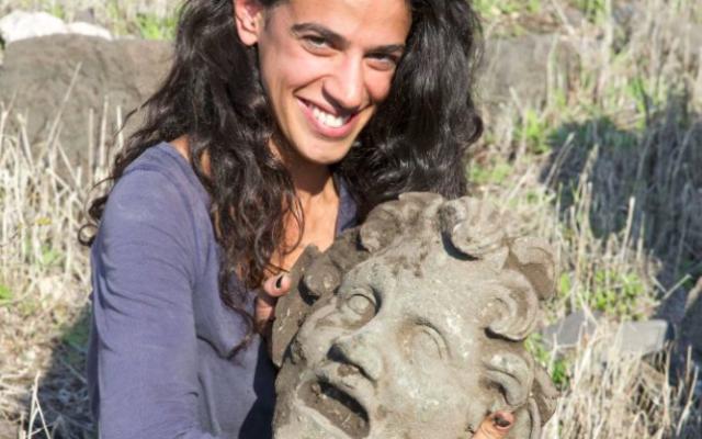 Un masque du Dieu Pan découvert en Israël (Crédit : Autorisation Haifa University)