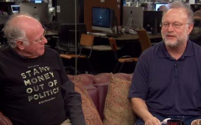 Ben Cohen et Jerry Greenfield discutent du projet d'une glace à la marijuana. (Crédit : capture d'écran Youtube / HuffPost Live)