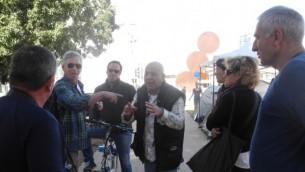 Des militants sur le boulevard de Rothschild contre le prix des logements - 2 mars 2015 (Crédit : Melanie Lidman