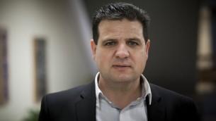 Ayman Odeh, le leader de la Liste arabe (unie) à la Knesset pour présenter sa liste pour les élections de 2015 le 28 janvier 2015 (Crédit/Yonatan Sindel/Flash90)