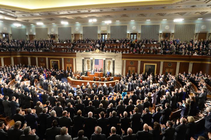 Le Premier ministre Benjamin Netanyahu devant le Congrès américain, le 3 mars 2015. (Crédit : Amos Ben Gershom/GPO/Flash90)