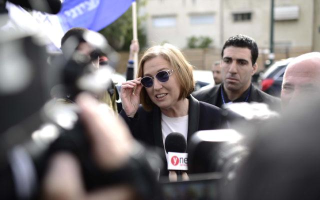 Tzipi Livni de l'Union sioniste le 17 mars 2015 à Tel Aviv (Crédit : Tomer Neuberg/Flash90)