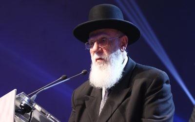 Le Rabbin Shalom Cohen à Paris, lors du Siyoum de Dirshoum - 22 mars 2015 (Crédit : autorisation)