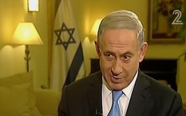 Benjamin Netanyahu intervenant sur la Deuxième chaîne le 12 mars 2015 (Crédit : Capture d'écran Deuxième chaîne)
