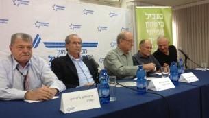 Conférence de presse  des commandants pour   la sécurité d'Israël  le 11 mars 2015 à Tel Aviv  (Crédit photo: Mitch Ginsburg / Times of Israel)