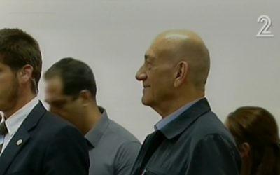 Ehud Olmert au tribunal de Jérusalem le 30 mars 2015 (Capture d'écran: Deuxième chaîne israélienne)