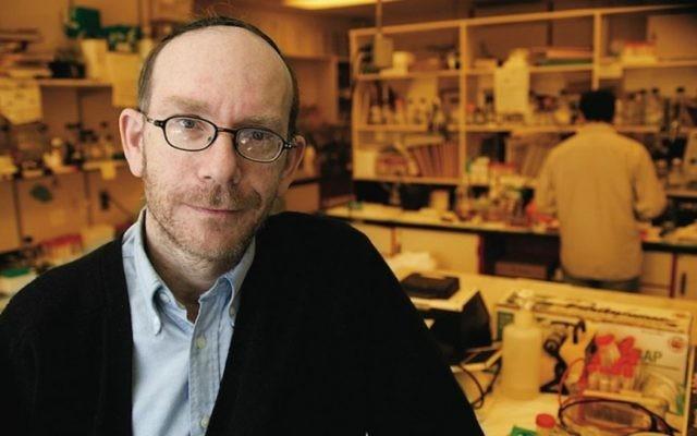 Le chercheur Moshe Szyf à son laboratoire de l'Université McGill, à Montréal. (Crédit : McGill University/JTA)