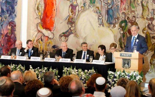 Benjamin Netanyahu à la Knesset - 31 mars 2015 (Crédit : Knesset)