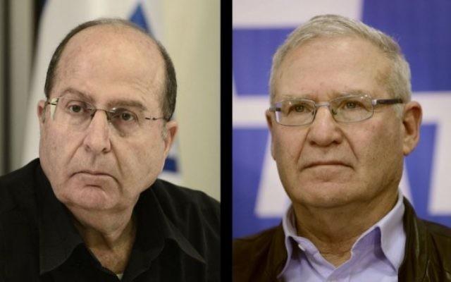 Moshe Yaalon, à gauche, et Amos Yadlin (photo composite: Tomer Neuberg/Flash90)