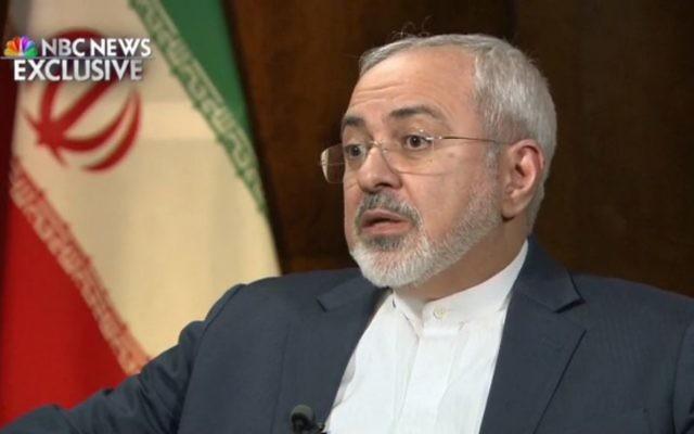 Le ministre des Affaires étrangères de l'Iran Mohammad Javad Zarif lors de son interview sur NBC le 4 mars 2015 (Crédit : Capture d'écran)