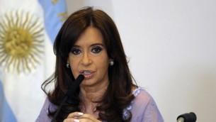 La présidente argentine Cristina Kirchner à Buenos Aires le 30 janvier 2015 (Crédit : AFP PHOTO / ALEJANDRO PAGNI)