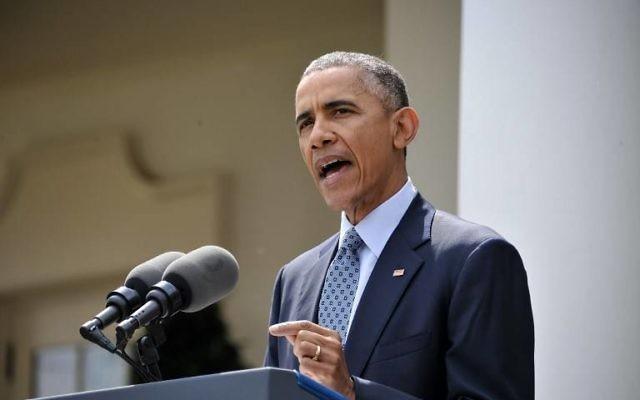 Barack Obama à la Maison Blanche - 2 avril 2015 (Crédit : NICHOLAS KAMM / AFP)