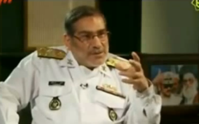 Le secrétaire du Conseil suprême de sécurité nationale d'Iran Ali Shamkhani (Crédit : capture d'écran YouTube)