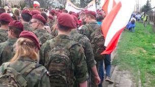 Un groupe de cadets de l'armée polonaise (crédit : N.K.)