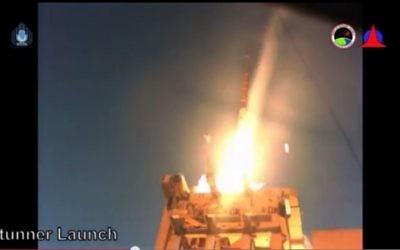 Le système de défense antimissile Fronde de David en action, dans un film publié par l'armée israélienne, le 1er avril 2015 (Capture d'écran Youtube)