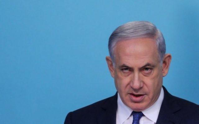 Benjamin Netanyahu - 1er avril 2015 (Crédit : Alex Kolomoisky, Pool)