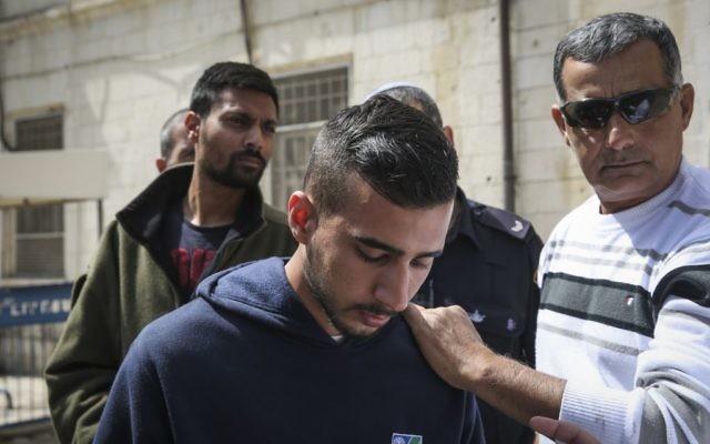 Niv Asraf devant le tribunal de Jérusalem en avril 2015 (Crédit photo : Hadas Parush/Flash90)
