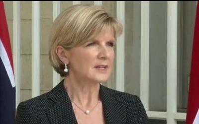 La Ministre australienne des Affaires étrangères Julie Bishop (Capture d'écran: YouTube / TVN)