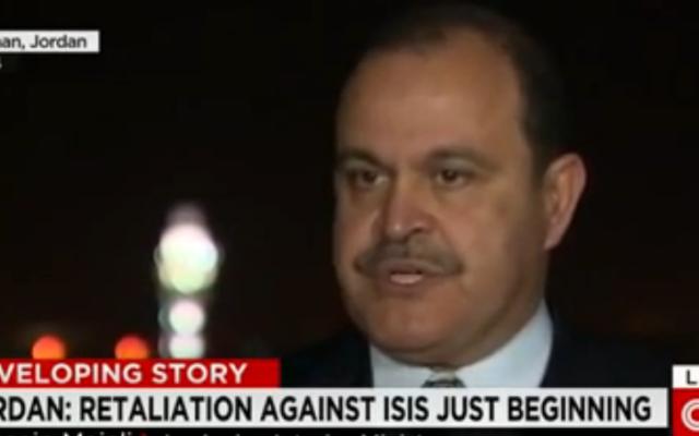 Le ministre jordanien de l'Intérieur Hussein Majali (Crédit : Capture d'écran YouTube/CNN)