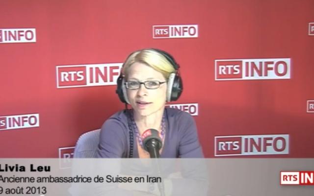 Livia Leu, ancienne ambassadrice de la Suisse en Iran (Crédit : Capture d'écran YouTube/RTS)