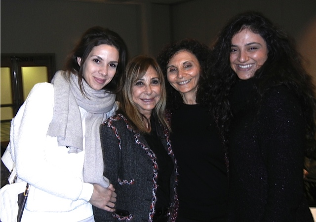 Lors de la conférence Salaam Shalom en novembre 2014 (de gauche à droite): Andrea Varadi, Brenda Rosenberg, Samia Bahsoun, et Caroline Culliere (Crédit : Autorisation)