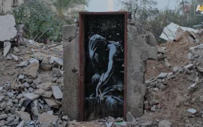 Oeuvre de Banksy à Gaza vendue à moins de 200 dollars (Crédit : Capture d'écran YouTube/AJ+)