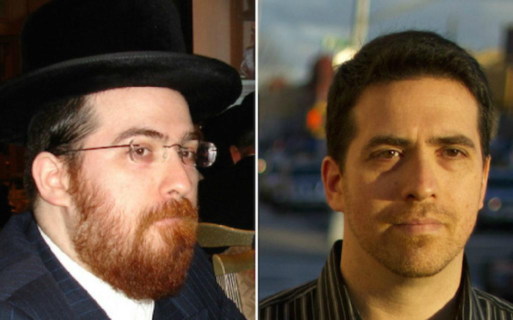 Avant et après : Shulem Deen, Hassid Skverer à gauche, Juif laïc à droite (Crédit : Autorisation de Shulem Deen ; à droite, Pearl Gabel/via JTA)