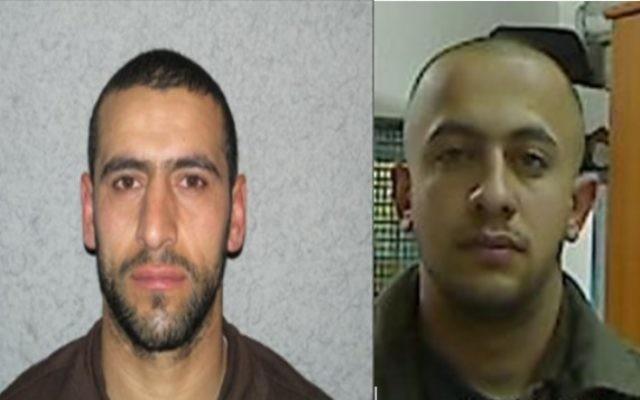 Daud Adwan (à gauche) et Maan Shaer (à droite), qui aurait planifié une attaque contre des soldats en mars 2015 (Crédit : Shin Bet)