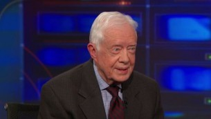 L'ancien président américain Jimmy Carter dans The Daily Show sur Comedy Central le 12 janvier, 2015 (Crédit : capture d'écran YouTube / Comedy Central)