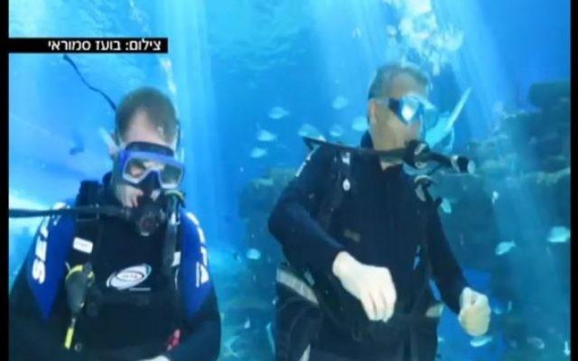 Le chef du parti Koulanou, Moshe Kahlon, a profité de la fête de Pessah et a passé mercredi à faire de la plongée avec les requins dans le parc marin d'Eilat (Crédit : Capture d'écran Deuxième chaîne)