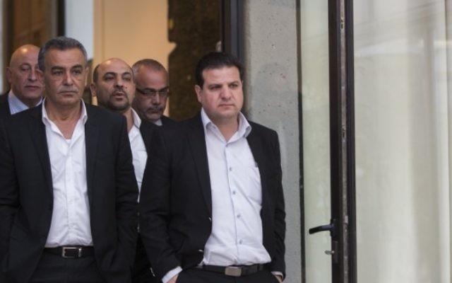 Les membres de la Liste arabe unie à la résidence du président israélien, à Jérusalem, le 22 mars 2015 (Crédit photo: Yonatan Sindel / FLASH90)
