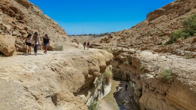 Des Israéliens dans la vallée de Nahal Arugot, près d'Ein Gedi; pendant Pessah, le 5 avril 2015. (Crédit : Gedi Israël/Flash90)