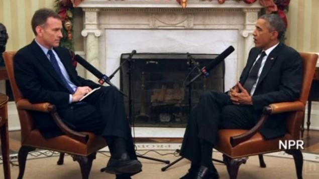 Le président Barack Obama (à droite) s'adressant à Steve Inskeep de NPR le 6 avril 2015 (Crédit : Capture d'écran NPR)