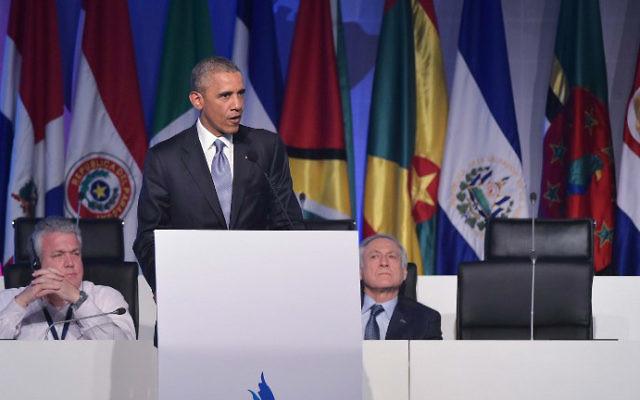 Le président américain Barack Obama dans un hôtel à Panama City le 10 avril 2015 (Crédit : AFP / MANDEL NGAN)
