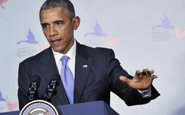 Le président américain Barack Obama lors d'une conférence de presse au Sommet des Amériques, le 11 avril 2015 à Panama City (Crédit photo: AFP PHOTO / MANDEL NGAN)