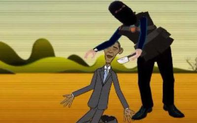 Capture d'écran du clip animé dépeignant la décapitation d'Obama (Crédit : Capture d'écran MEMRI)