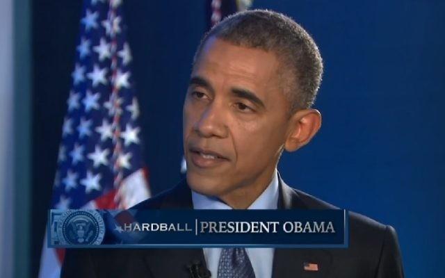 Le président américain Barack Obama parle à MSNBC, le 21 avril 2015. (Crédit : screenshot/MSNBC)