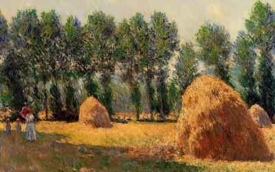 'Meules de foin à Giverny' de Monet en 1885 (Crédit : Allart.biz)