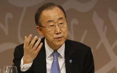 Le secrétaire général des Nations unies, Ban Ki-moon, le 12 Avril 2015 (Crédit : Karim Jaafar / al-Watan Doha / AFP)